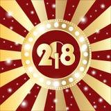 Glanzende gouden cirkel uitstekende banner met lichten op retro rode en gouden achtergrond Nieuw jaar 2018 concept vector illustratie