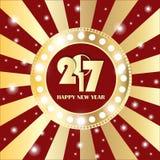 Glanzende gouden cirkel uitstekende banner met lichten op retro rode en gouden achtergrond Nieuwjaar 2017 concept Royalty-vrije Stock Fotografie