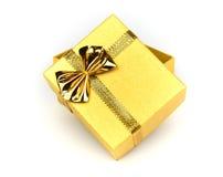 Glanzende gouden giftdoos Stock Afbeeldingen