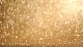 Glanzende gouden lichtenachtergrond stock video