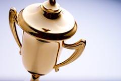 Glanzende gouden trofeetoekenning Royalty-vrije Stock Afbeelding