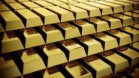 Glanzende goudstaven stock video