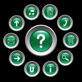 Glanzende groene knopen met symbolen. Stock Foto's