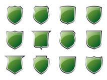 Glanzende Groene Schilden stock illustratie
