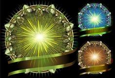 Glanzende Heldere cirkel Mandala met lint Stock Afbeelding