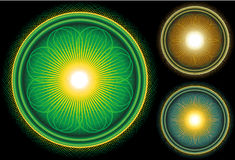 Glanzende Heldere cirkel Mandala op Zwarte achtergrond Royalty-vrije Stock Foto's