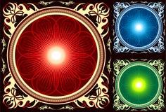Glanzende Heldere cirkel Mandala in overladen frame Royalty-vrije Stock Afbeeldingen