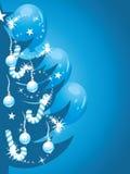 Glanzende Kerstboom op de donkerblauwe achtergrond Royalty-vrije Stock Afbeelding