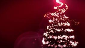Glanzende Kerstboom op rode achtergrond Magische boomkleur De verlichting van de Kerstmiswinter Lijnanimatie royalty-vrije illustratie