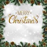 Glanzende Kerstmisachtergrond met denneappels en takkenkader Stock Afbeelding