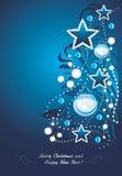 Glanzende Kerstmisboom De prentbriefkaar van Kerstmis Royalty-vrije Stock Foto