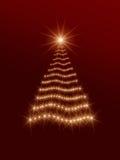 Glanzende Kerstmisboom in rood Stock Foto