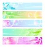 Glanzende kleurrijke banners, kopballen Stock Afbeelding