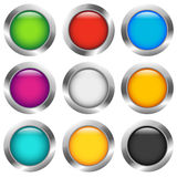 Glanzende kleurrijke cirkel, gebied, orb pictogrammen met lege ruimte in 9 vector illustratie