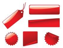 Glanzende knoop en stickerreeks Stock Afbeelding