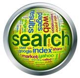 Glanzende knoop van onderzoeksmotor wordcloud Stock Fotografie