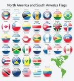 Glanzende knoopvlaggen van Amerikaans continent Royalty-vrije Stock Afbeeldingen
