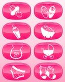glanzende knopen - de pictogrammen van de Baby. Royalty-vrije Stock Foto