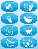 Glanzende knopen - de pictogrammen van de Baby. Stock Afbeeldingen