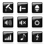 Glanzende knopen met geplaatste pictogrammen Royalty-vrije Stock Foto