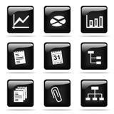 Glanzende knopen met geplaatste pictogrammen Stock Fotografie