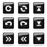 Glanzende knopen met geplaatste pictogrammen Stock Foto's