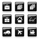 Glanzende knopen met geplaatste pictogrammen Royalty-vrije Stock Afbeelding