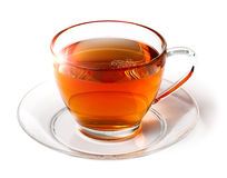 Glanzende kop thee op wit Stock Afbeeldingen