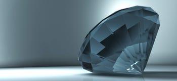 Glanzende kristaldiamant op een blauwe achtergrond Stock Foto