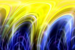 Glanzende lijnenachtergrond in blauwe gele tinten, abstracte achtergrond, fantasie stock illustratie