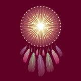 Glanzende magische dreamcatcher met veren stock afbeeldingen