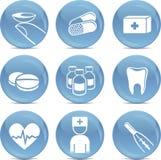 Glanzende medische pictogrammen in vector Royalty-vrije Stock Foto