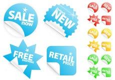 Glanzende moderne stickers op verkoop/kleinhandelsthema Stock Foto's