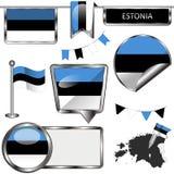 Glanzende pictogrammen met vlag van Estland Stock Afbeelding