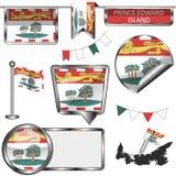 Glanzende pictogrammen met vlag van provincieprins Edward Island vector illustratie
