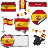 Glanzende pictogrammen met vlag van Spanwijdte Royalty-vrije Stock Foto's