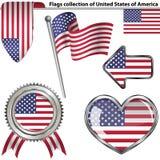 Glanzende pictogrammen met vlaggen van de V.S. Stock Foto's