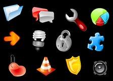 Glanzende pictogrammen voor Webontwerp Stock Afbeelding