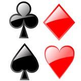 Glanzende playcardpictogrammen royalty-vrije illustratie