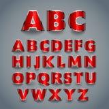 Glanzende rode doopvont Alfabetontwerp Royalty-vrije Stock Afbeelding