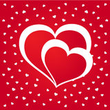 Glanzende rode hartenachtergrond Stock Afbeelding