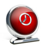 Glanzende rode knoop met kloksymbool 3D Illustratie Stock Afbeelding