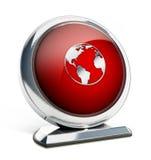 Glanzende rode knoop met lightbulbsymbool 3D Illustratie Stock Fotografie