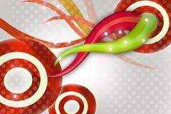 glanzende rode ring met golven, abstracte achtergrond Stock Foto