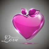 Glanzende roze hartvorm Stock Afbeelding