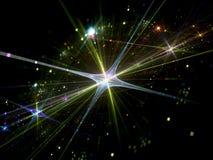 Glanzende ster met deeltjes in ruimte Royalty-vrije Stock Afbeelding