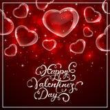Glanzende Valentijnskaartenharten op rode achtergrond Stock Fotografie