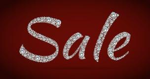 Glanzende verkoopmarkering op rode achtergrond Stock Afbeelding
