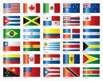 Glanzende vlaggen geplaatst Amerika & Oceanië Stock Afbeeldingen