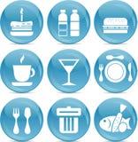 Glanzende voedselpictogrammen Stock Afbeelding